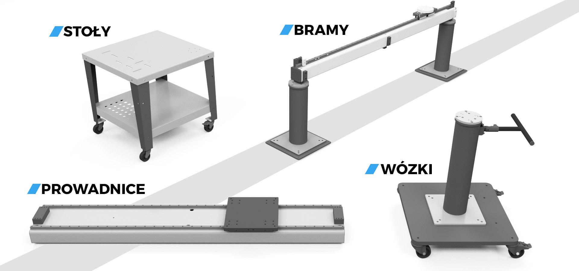 miejsca instalacji manipulatora stoly bramy prowadnice wozki